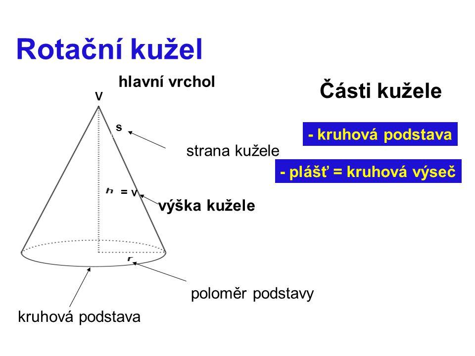 Rotační kužel Části kužele hlavní vrchol - kruhová podstava