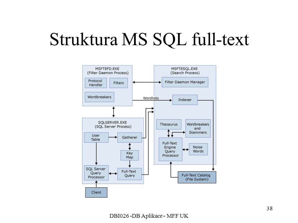 Struktura MS SQL full-text