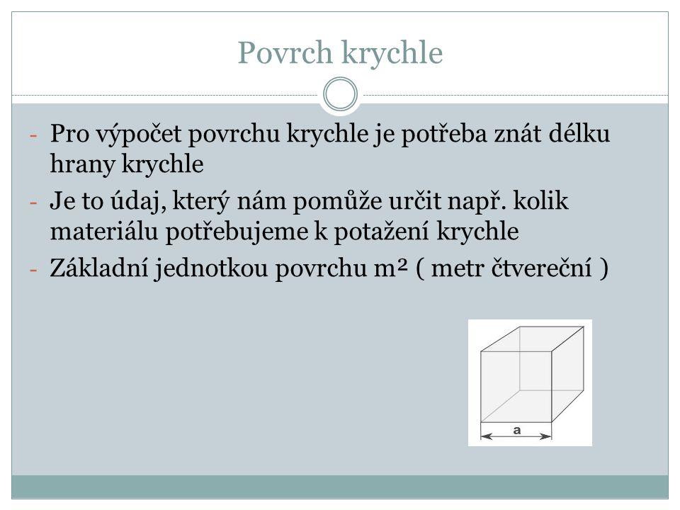Povrch krychle Pro výpočet povrchu krychle je potřeba znát délku hrany krychle.