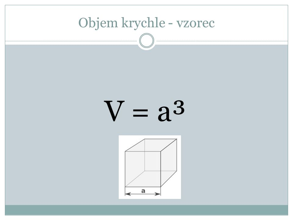 Objem krychle - vzorec V = a³