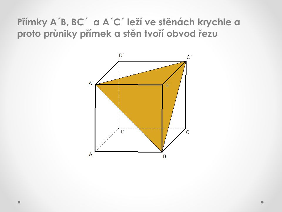 Přímky A´B, BC´ a A´C´ leží ve stěnách krychle a proto průniky přímek a stěn tvoří obvod řezu