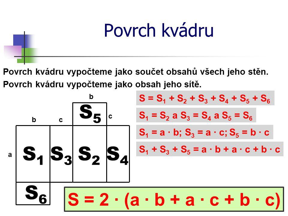 S5 S1 S3 S2 S4 S6 Povrch kvádru S = 2 ∙ (a ∙ b + a ∙ c + b ∙ c)