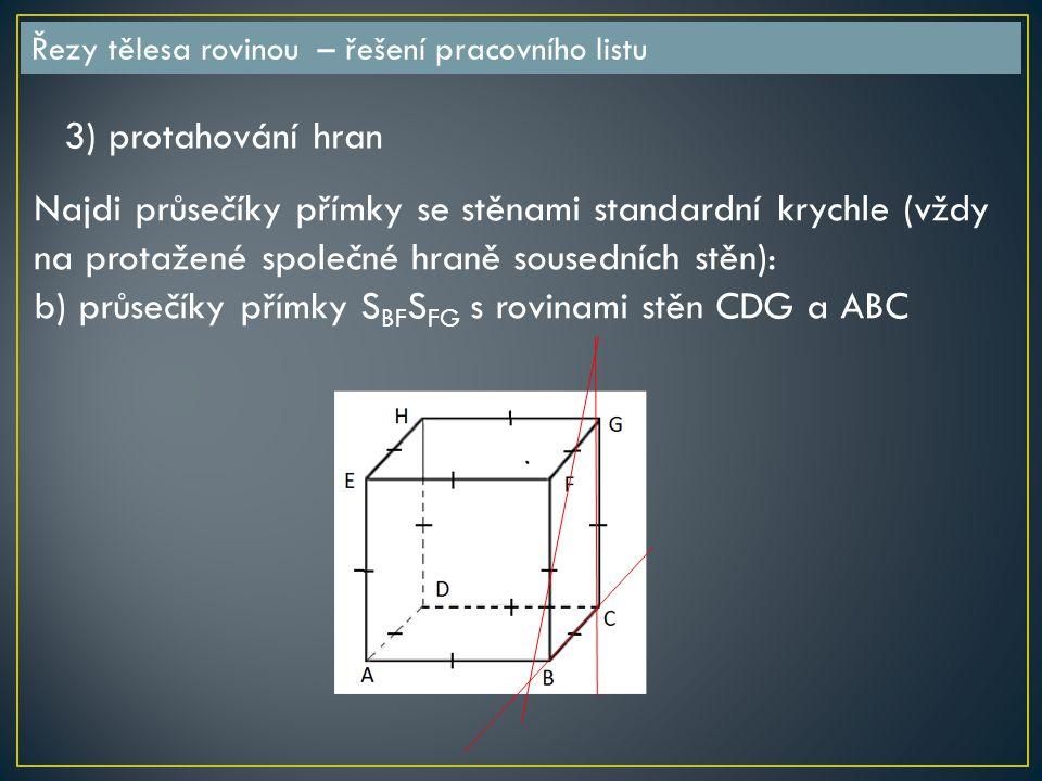 b) průsečíky přímky SBFSFG s rovinami stěn CDG a ABC