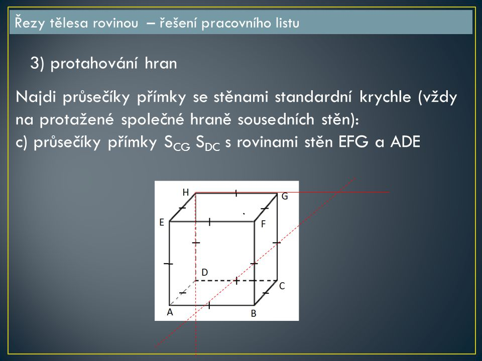 c) průsečíky přímky SCG SDC s rovinami stěn EFG a ADE