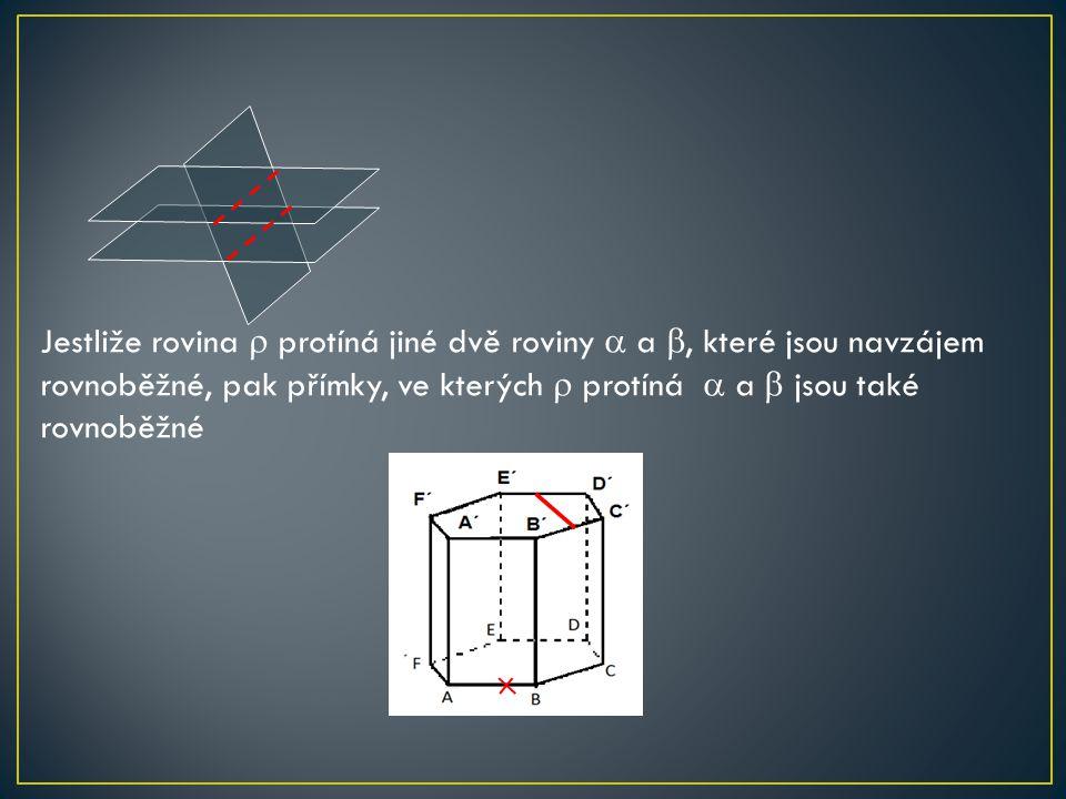 Jestliže rovina  protíná jiné dvě roviny  a , které jsou navzájem rovnoběžné, pak přímky, ve kterých  protíná  a  jsou také rovnoběžné.