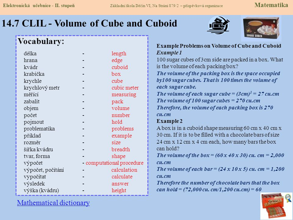 14.7 CLIL - Volume of Cube and Cuboid