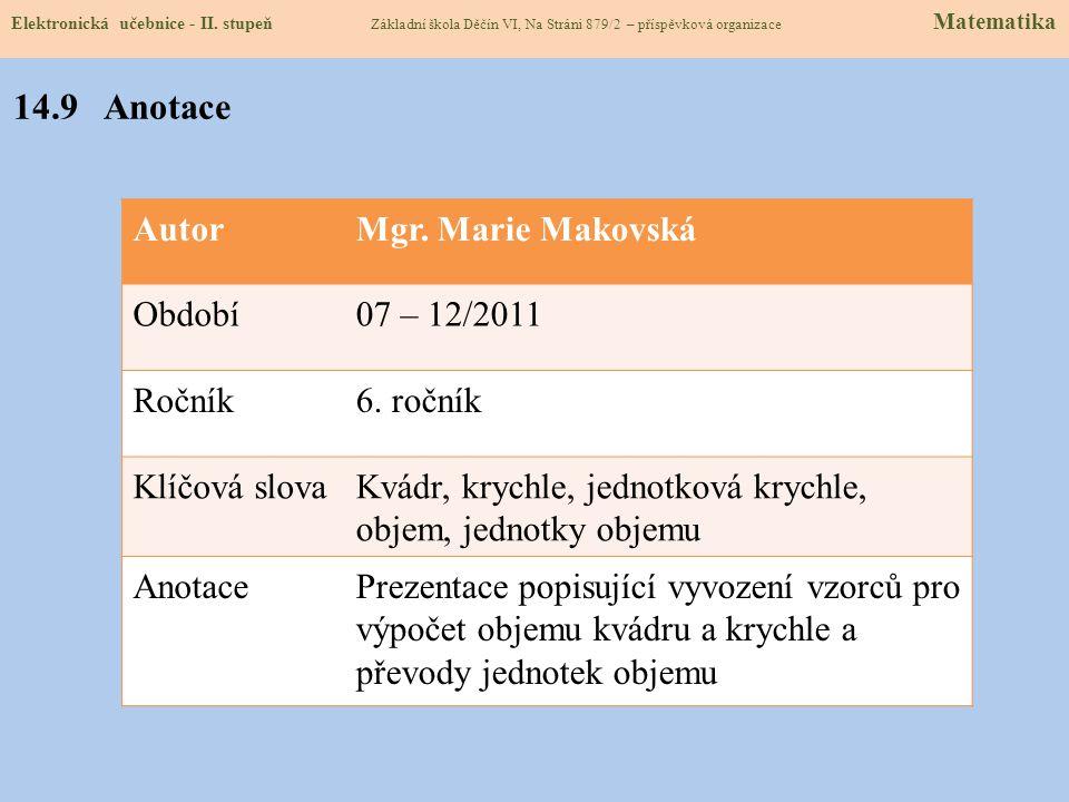 14.9 Anotace Autor Mgr. Marie Makovská Období 07 – 12/2011 Ročník