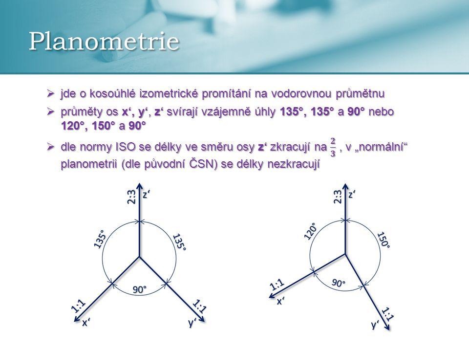 Planometrie jde o kosoúhlé izometrické promítání na vodorovnou průmětnu.