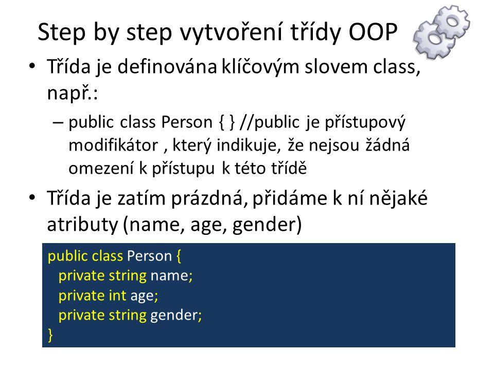 Step by step vytvoření třídy OOP