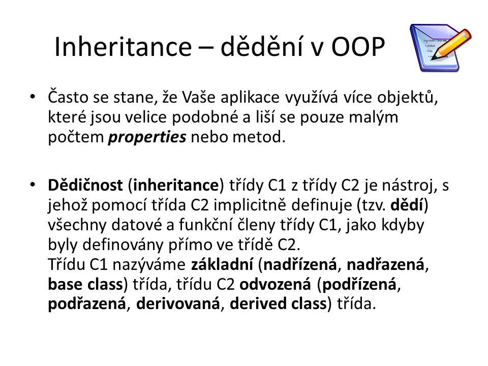 Inheritance – dědění v OOP