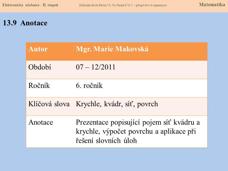 13.9 Anotace Autor Mgr. Marie Makovská Období 07 – 12/2011 Ročník