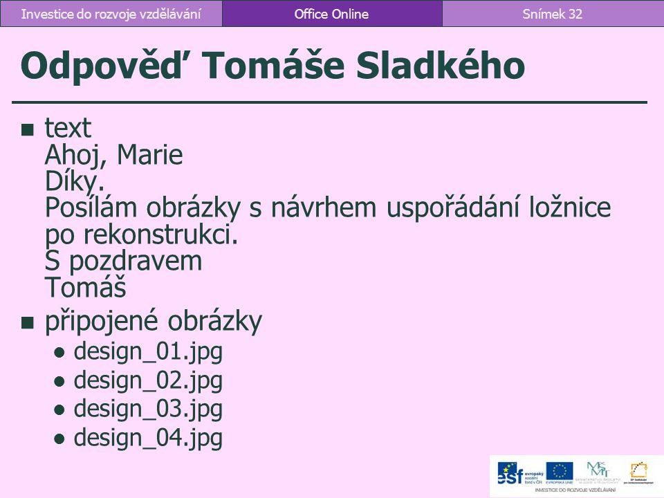 Odpověď Tomáše Sladkého