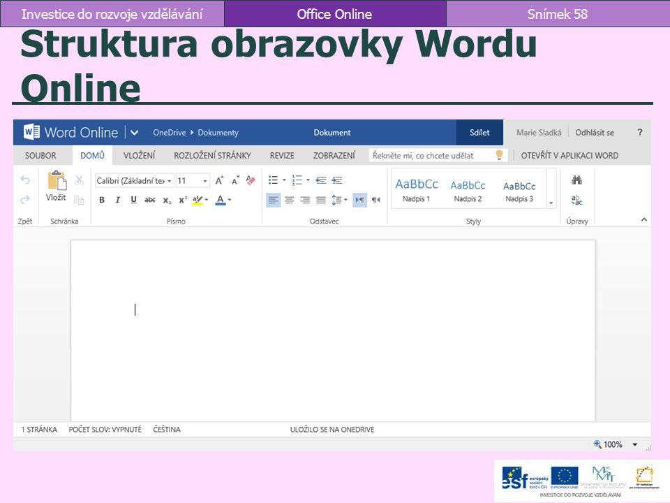 Struktura obrazovky Wordu Online