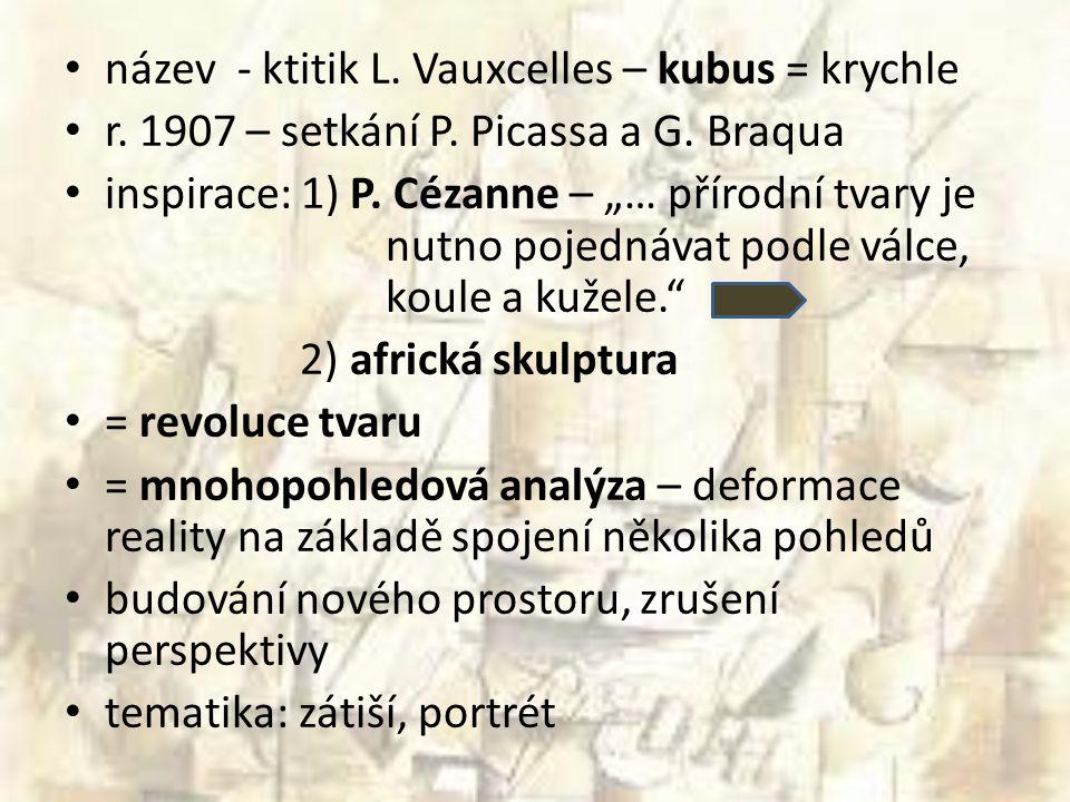 název - ktitik L. Vauxcelles – kubus = krychle