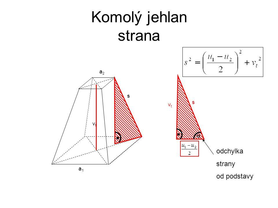 Komolý jehlan strana s vt a1 a2 s vt  odchylka strany od podstavy