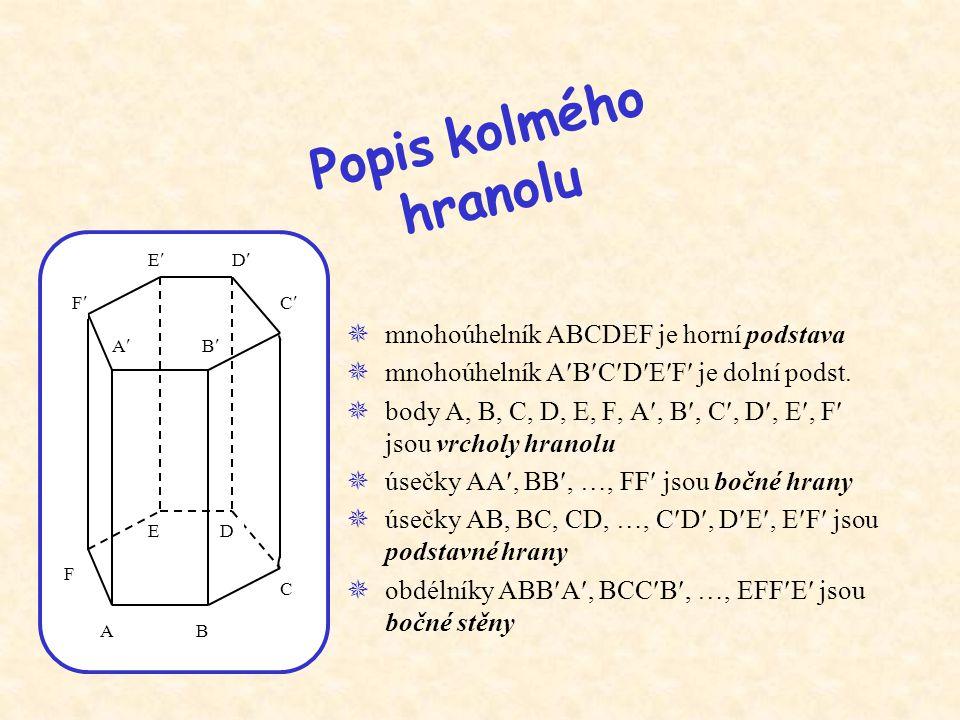 Popis kolmého hranolu mnohoúhelník ABCDEF je horní podstava
