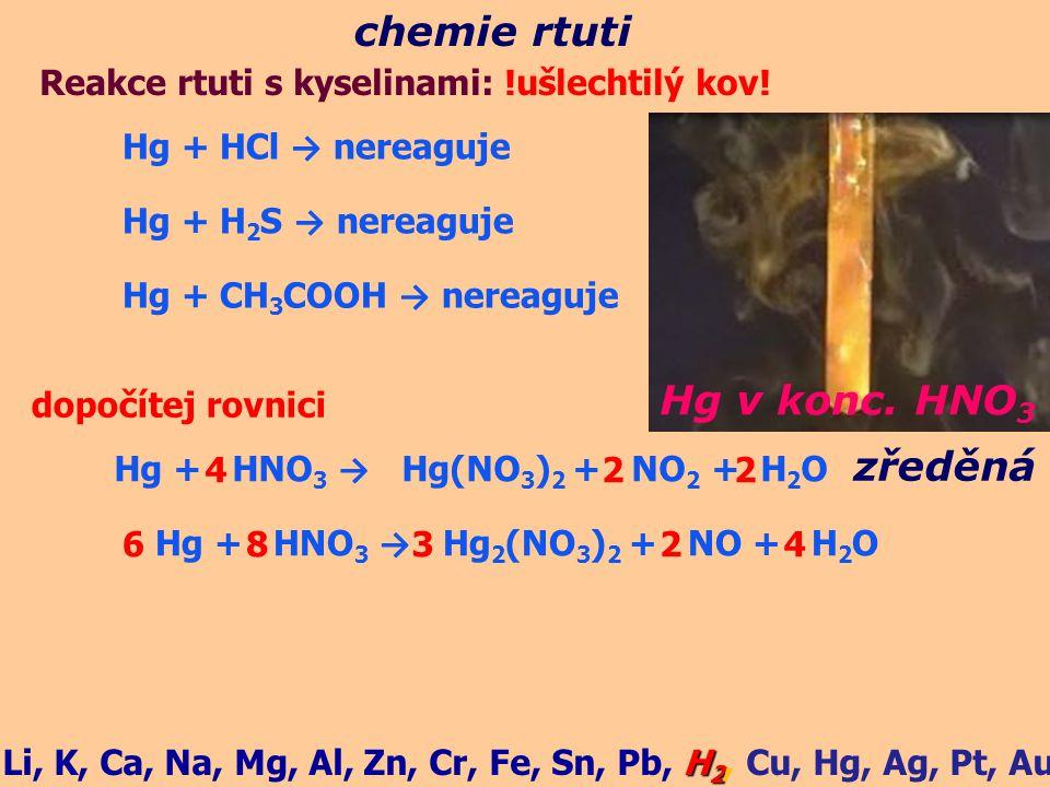 chemie rtuti Hg v konc. HNO3 zředěná