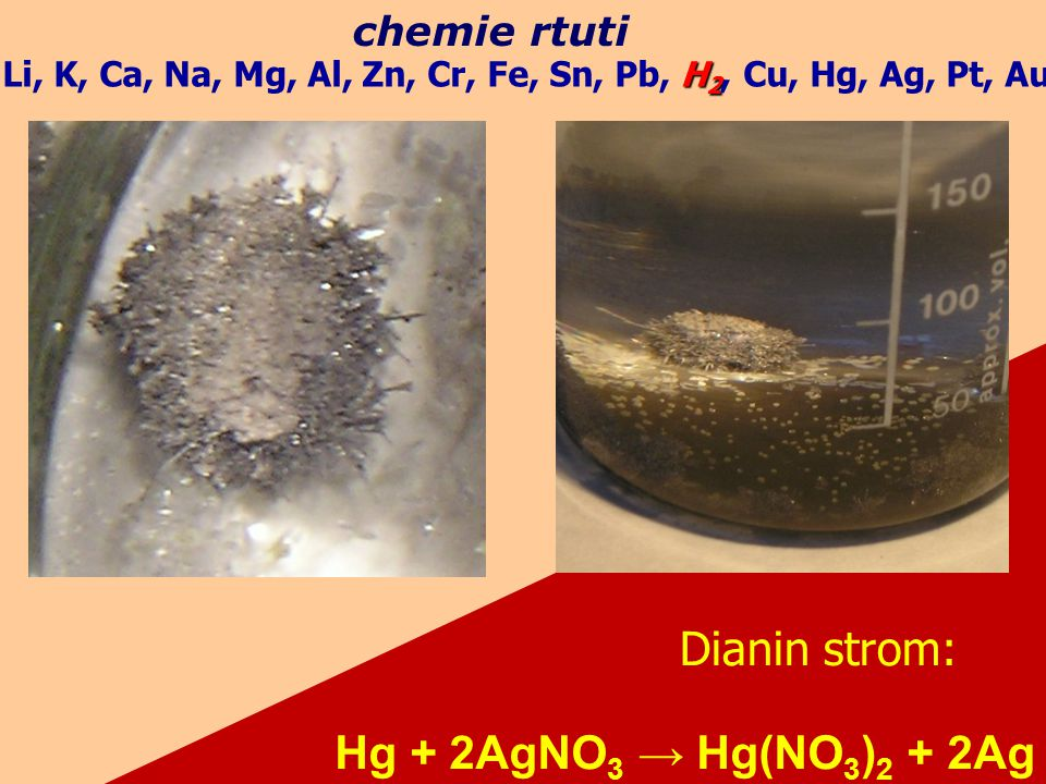 Dianin strom: Hg + 2AgNO3 → Hg(NO3)2 + 2Ag chemie rtuti