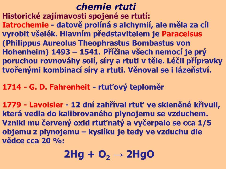 2Hg + O2 → 2HgO chemie rtuti Historické zajímavosti spojené se rtutí: