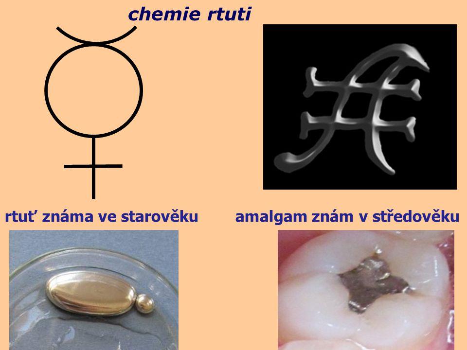 chemie rtuti rtuť známa ve starověku amalgam znám v středověku