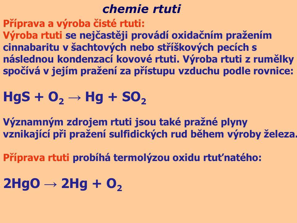 HgS + O2 → Hg + SO2 2HgO → 2Hg + O2 chemie rtuti
