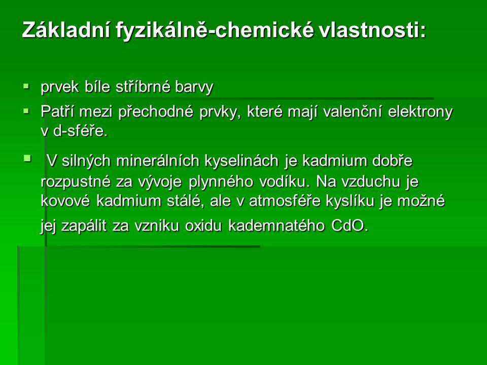 Základní fyzikálně-chemické vlastnosti: