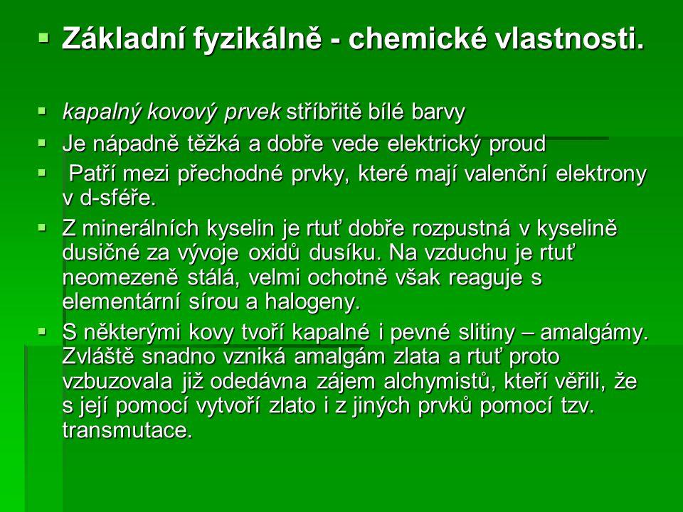 Základní fyzikálně - chemické vlastnosti.