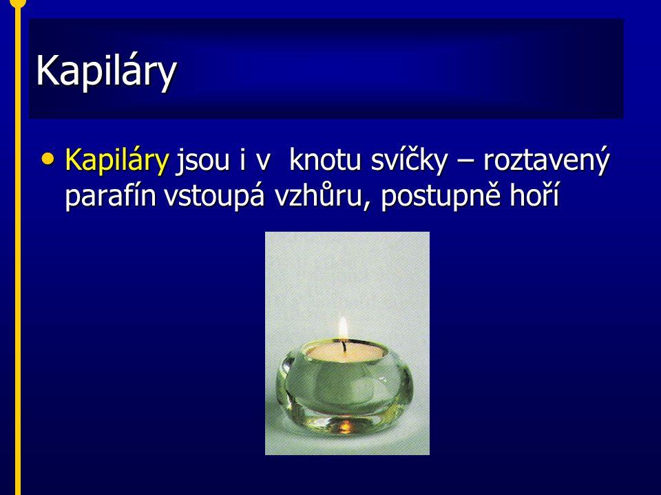Kapiláry Kapiláry jsou i v knotu svíčky – roztavený parafín vstoupá vzhůru, postupně hoří