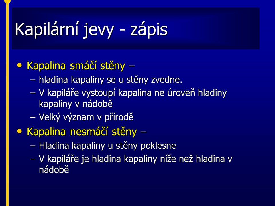 Kapilární jevy - zápis Kapalina smáčí stěny – Kapalina nesmáčí stěny –