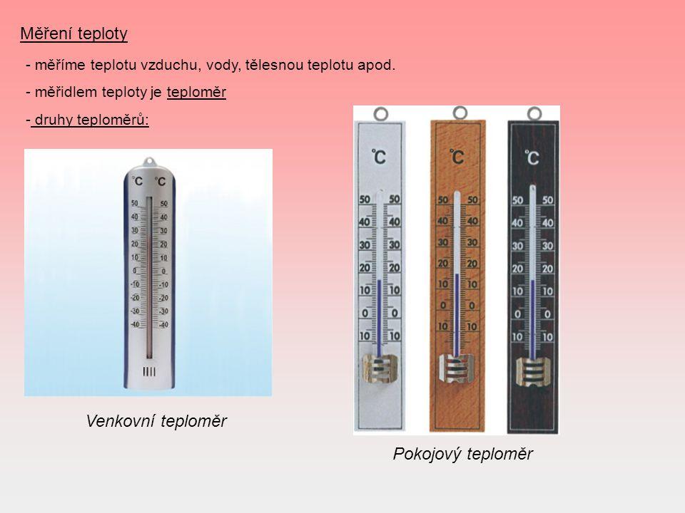 Měření teploty Venkovní teploměr Pokojový teploměr