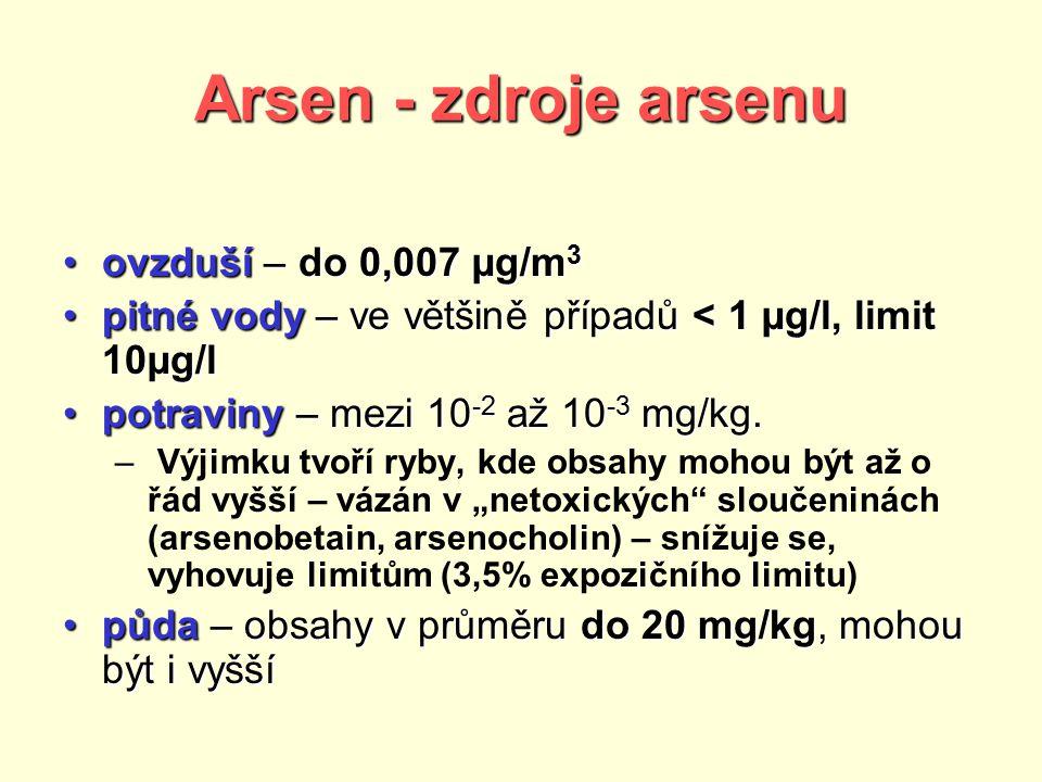Arsen - zdroje arsenu ovzduší – do 0,007 µg/m3