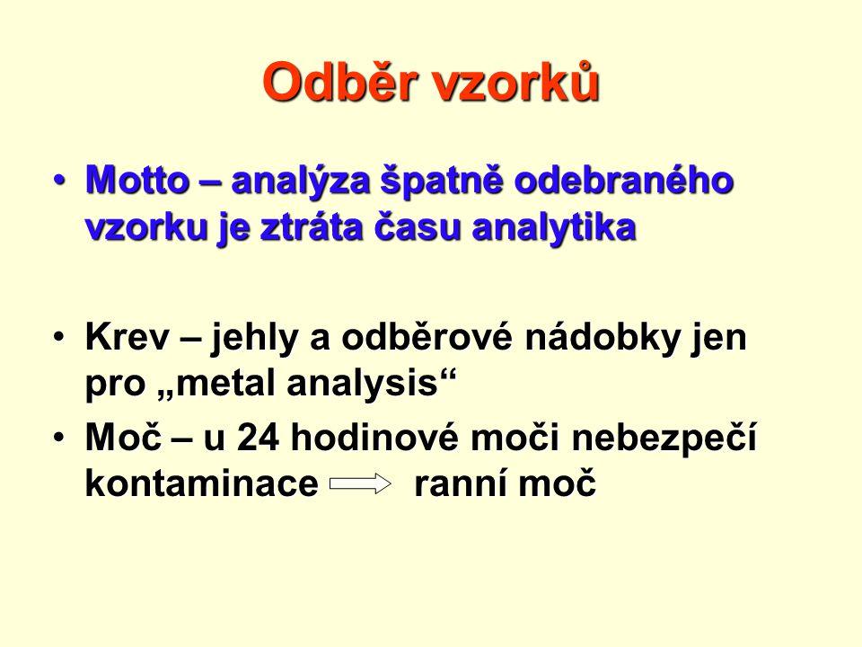 """Odběr vzorků Motto – analýza špatně odebraného vzorku je ztráta času analytika. Krev – jehly a odběrové nádobky jen pro """"metal analysis"""
