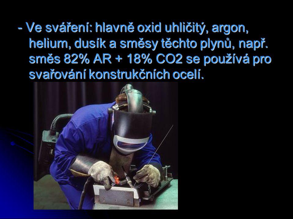 - Ve sváření: hlavně oxid uhličitý, argon, helium, dusík a směsy těchto plynů, např.