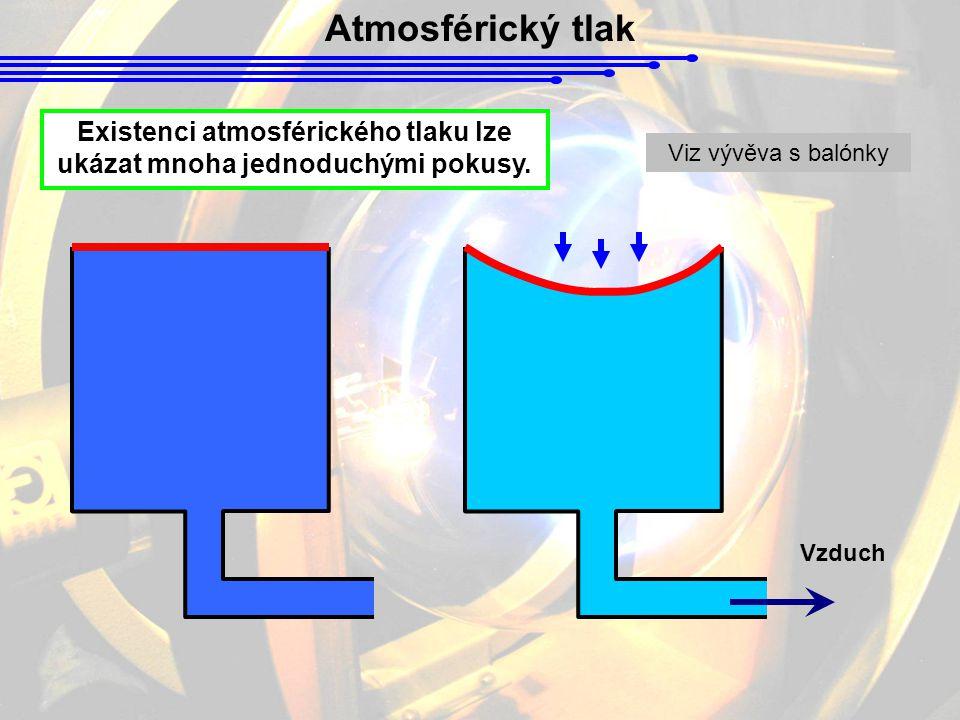 Existenci atmosférického tlaku lze ukázat mnoha jednoduchými pokusy.