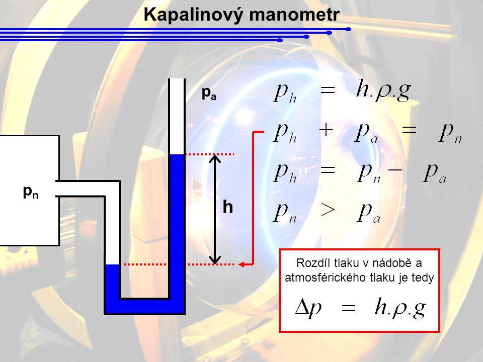 Rozdíl tlaku v nádobě a atmosférického tlaku je tedy