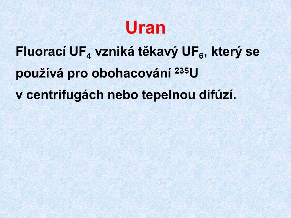 Uran Fluorací UF4 vzniká těkavý UF6, který se