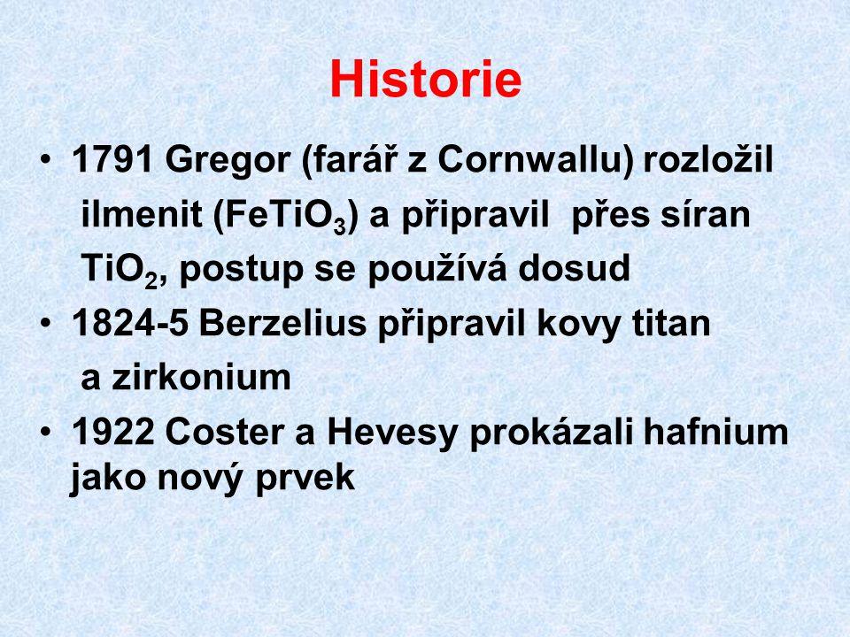 Historie 1791 Gregor (farář z Cornwallu) rozložil