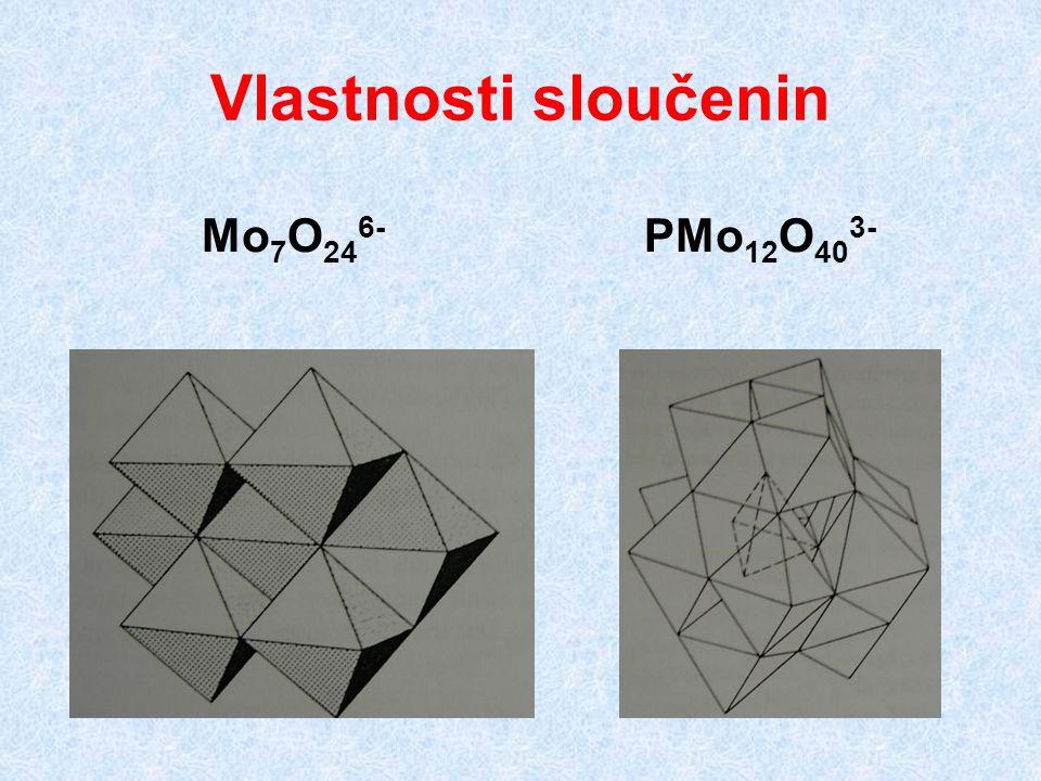 Vlastnosti sloučenin Mo7O246- PMo12O403-