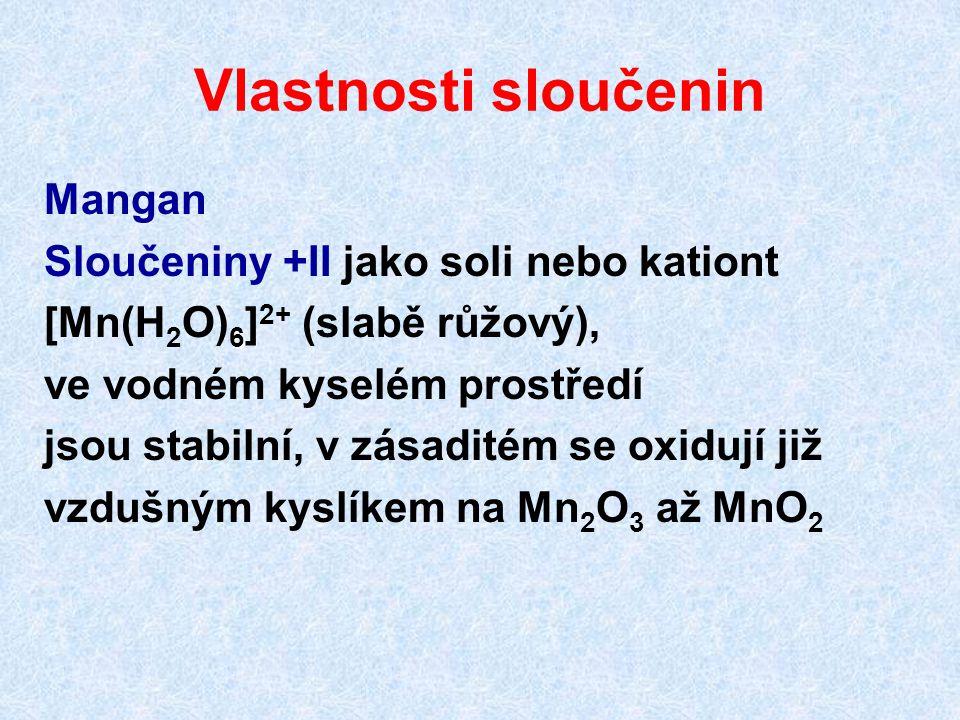 Vlastnosti sloučenin Mangan Sloučeniny +II jako soli nebo kationt