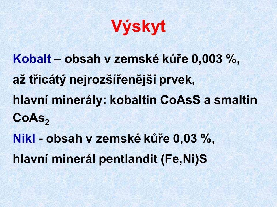 Výskyt Kobalt – obsah v zemské kůře 0,003 %,