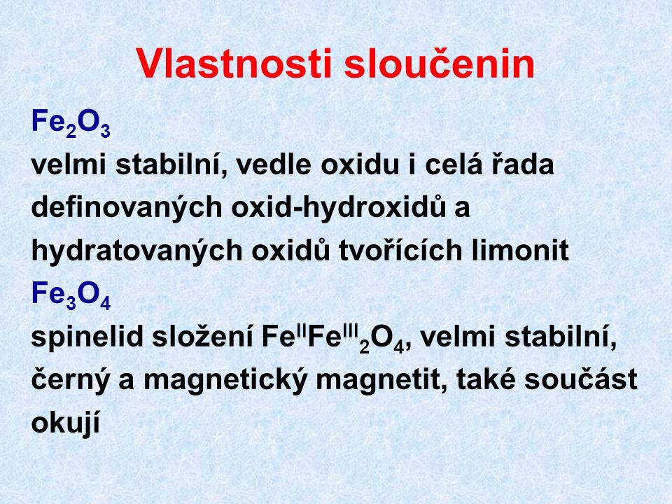 Vlastnosti sloučenin Fe2O3 velmi stabilní, vedle oxidu i celá řada