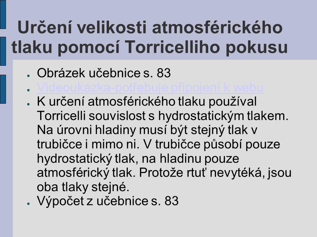Určení velikosti atmosférického tlaku pomocí Torricelliho pokusu