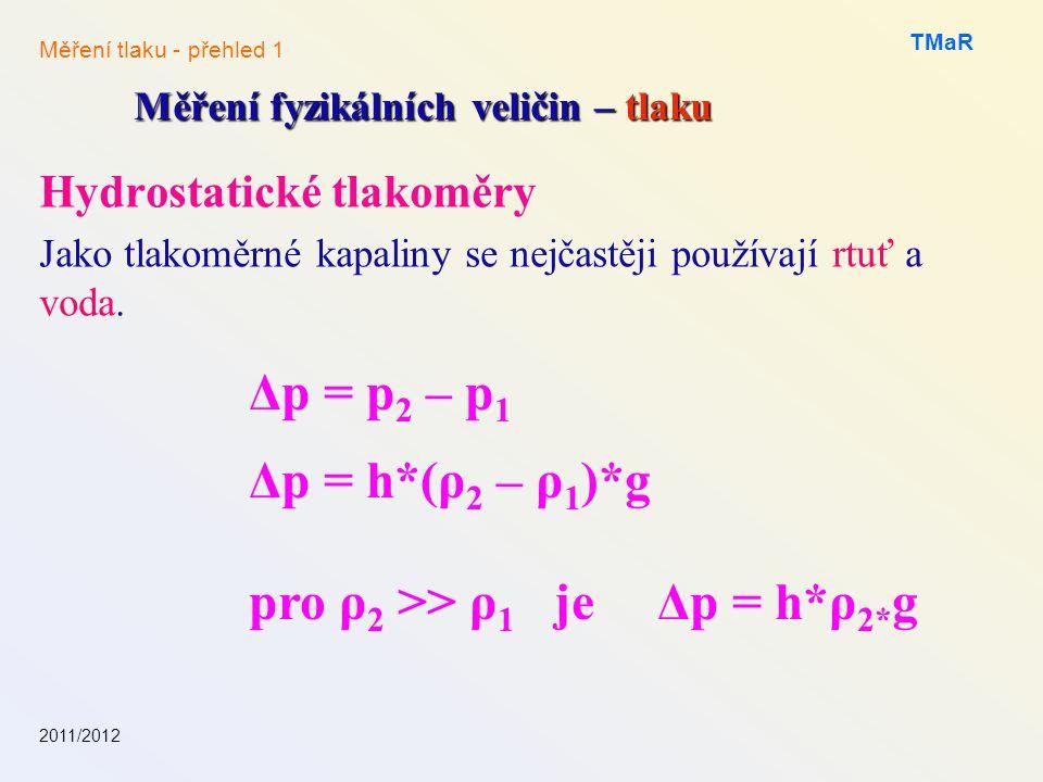 pro ρ2 >> ρ1 je Δp = h*ρ2*g