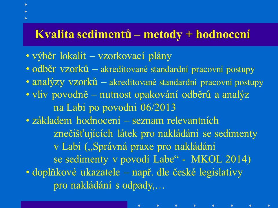 Kvalita sedimentů – metody + hodnocení