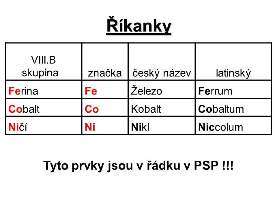 Říkanky Tyto prvky jsou v řádku v PSP !!! VIII.B skupina značka