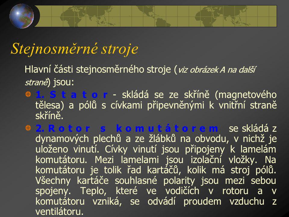 Stejnosměrné stroje Hlavní části stejnosměrného stroje (viz obrázek A na další. straně) jsou: