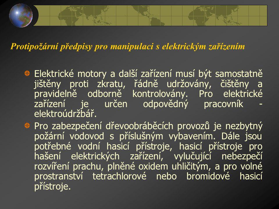 Protipožární předpisy pro manipulaci s elektrickým zařízením