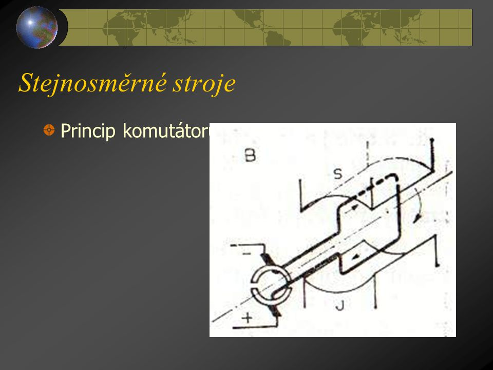 Stejnosměrné stroje Princip komutátoru