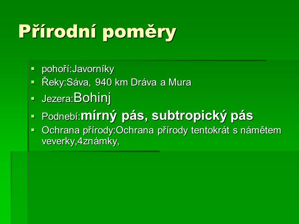 Přírodní poměry pohoří:Javorníky Řeky:Sáva, 940 km Dráva a Mura