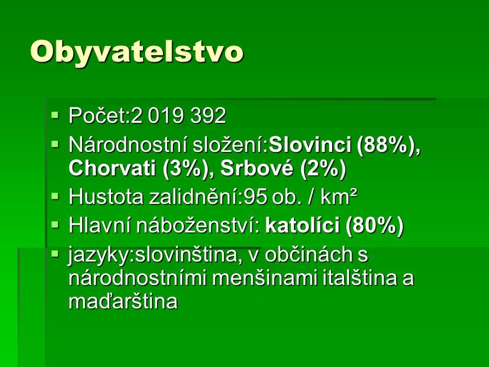 Obyvatelstvo Počet:2 019 392. Národnostní složení:Slovinci (88%), Chorvati (3%), Srbové (2%) Hustota zalidnění:95 ob. / km².